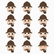 Постер, плакат: Set of cute investigator emoticons