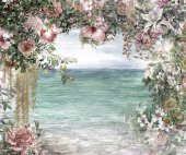 Abstract flowers watercolor painting. Spring multicolored near the sea