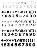 Font design with numbers and math signs illustration