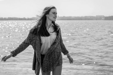 bw Summer portrait of happy young beautiful woman with a smile