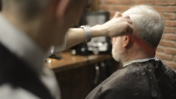 Active retired elderly old bearded senior man aged with graying hair in barber shop hairstylist