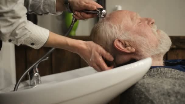 Active retired elderly old bearded senior man aged with graying hair in barber shop hairstylist hairstyle getting washing Hair head