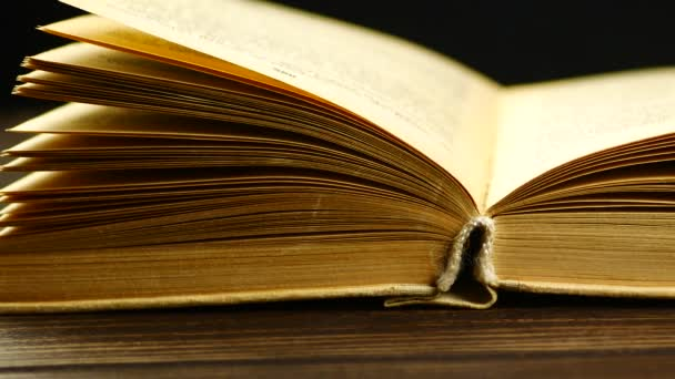 Libros Antiguos En Un Estante De Madera Vídeos De Stock