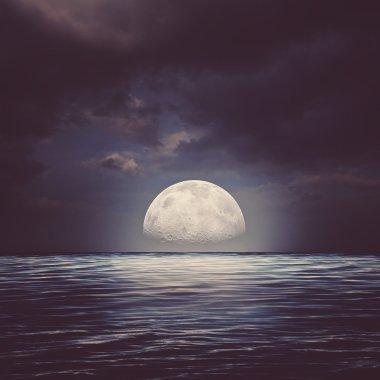 Sea surface under night stormy skies