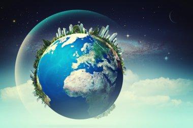 Earth against starry skies