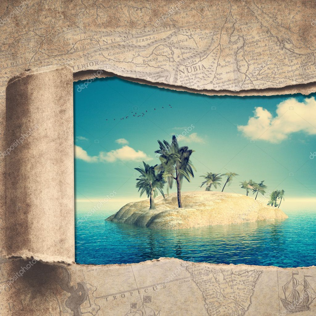 vintage map and beautiful tropical island