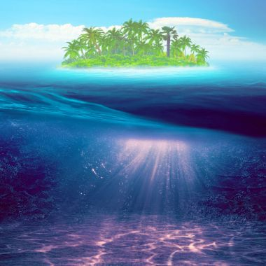 Tropical island. Abstract marine background