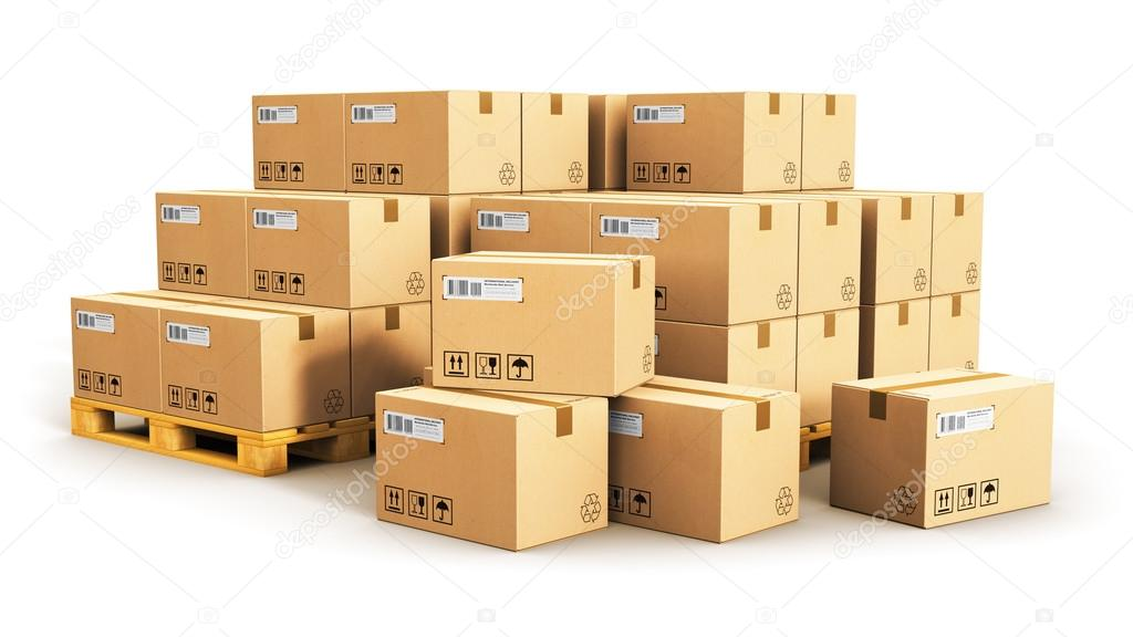Cardboard boxes on shipping pallets stock photo scanrail 125457990 creative abstract cargo delivery and transportation logistics storage warehouse industry business concept group of stacked corrugated cardboard boxes on reheart Image collections