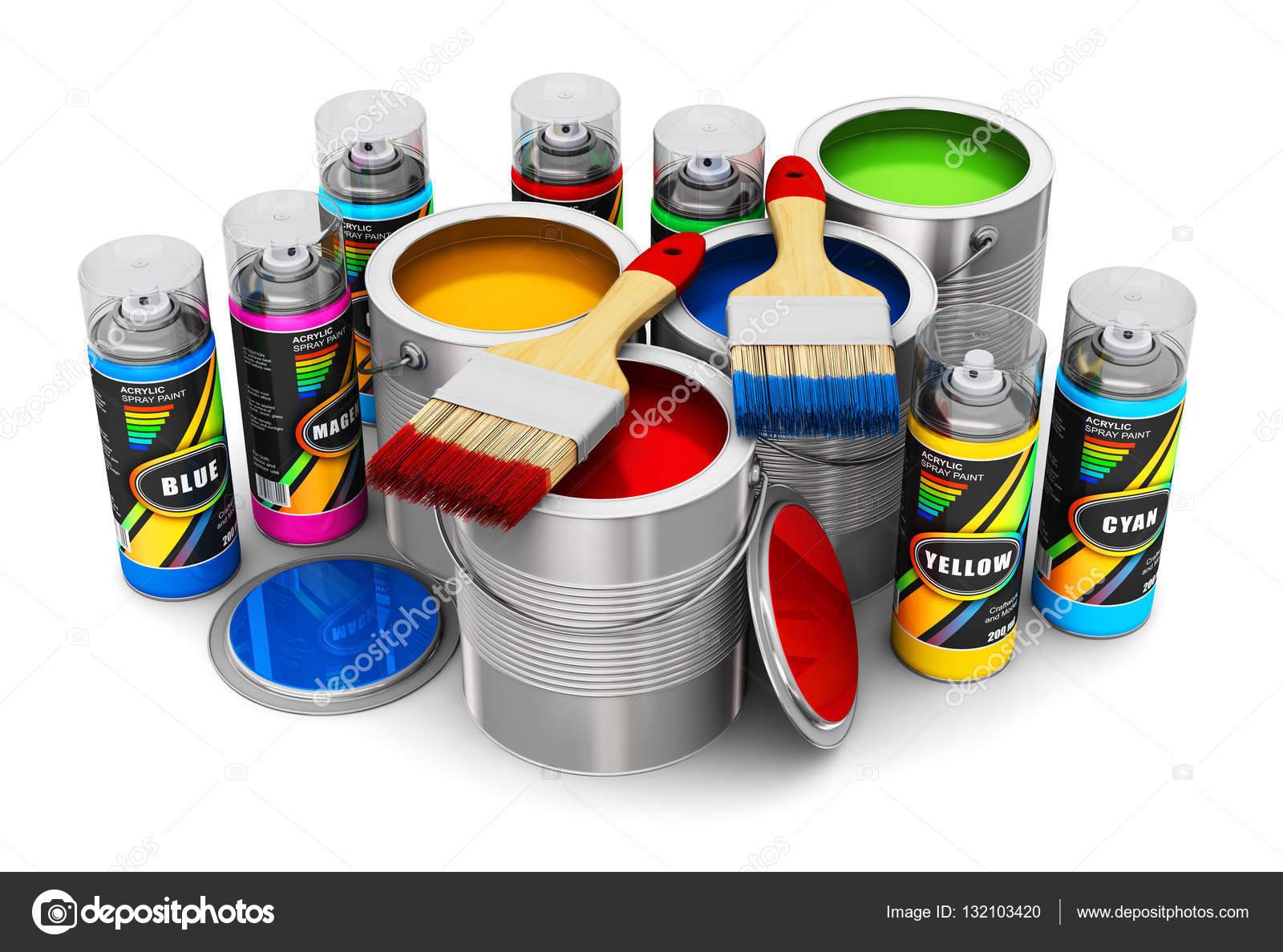 Latas con pintura de color pinceles y pinturas en spray - Pintura con spray ...