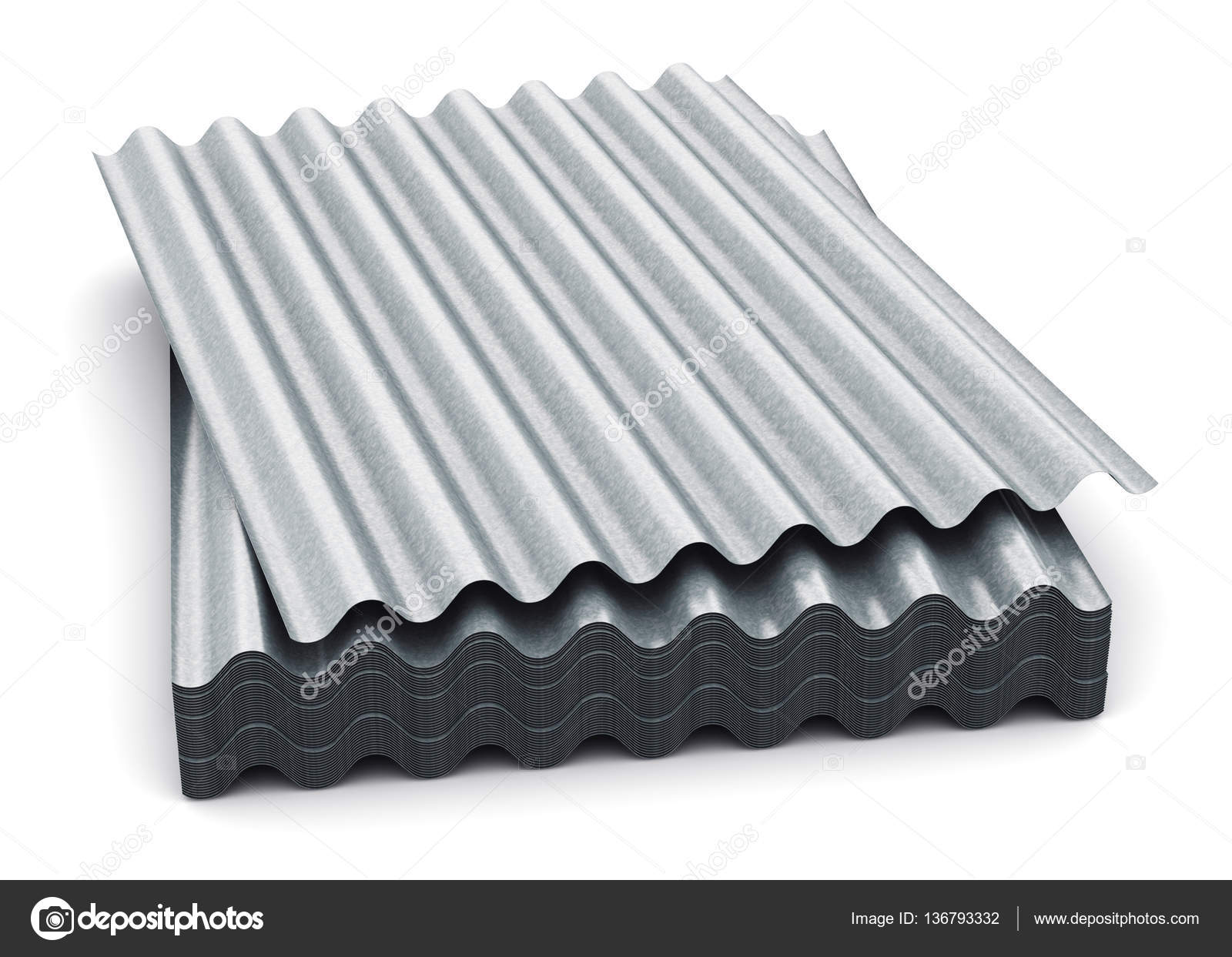 Group Of Wave Shaped Zinc Plated Metal Sheets Stock