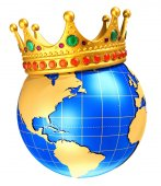Photo Earth globe planet with golden royal crown