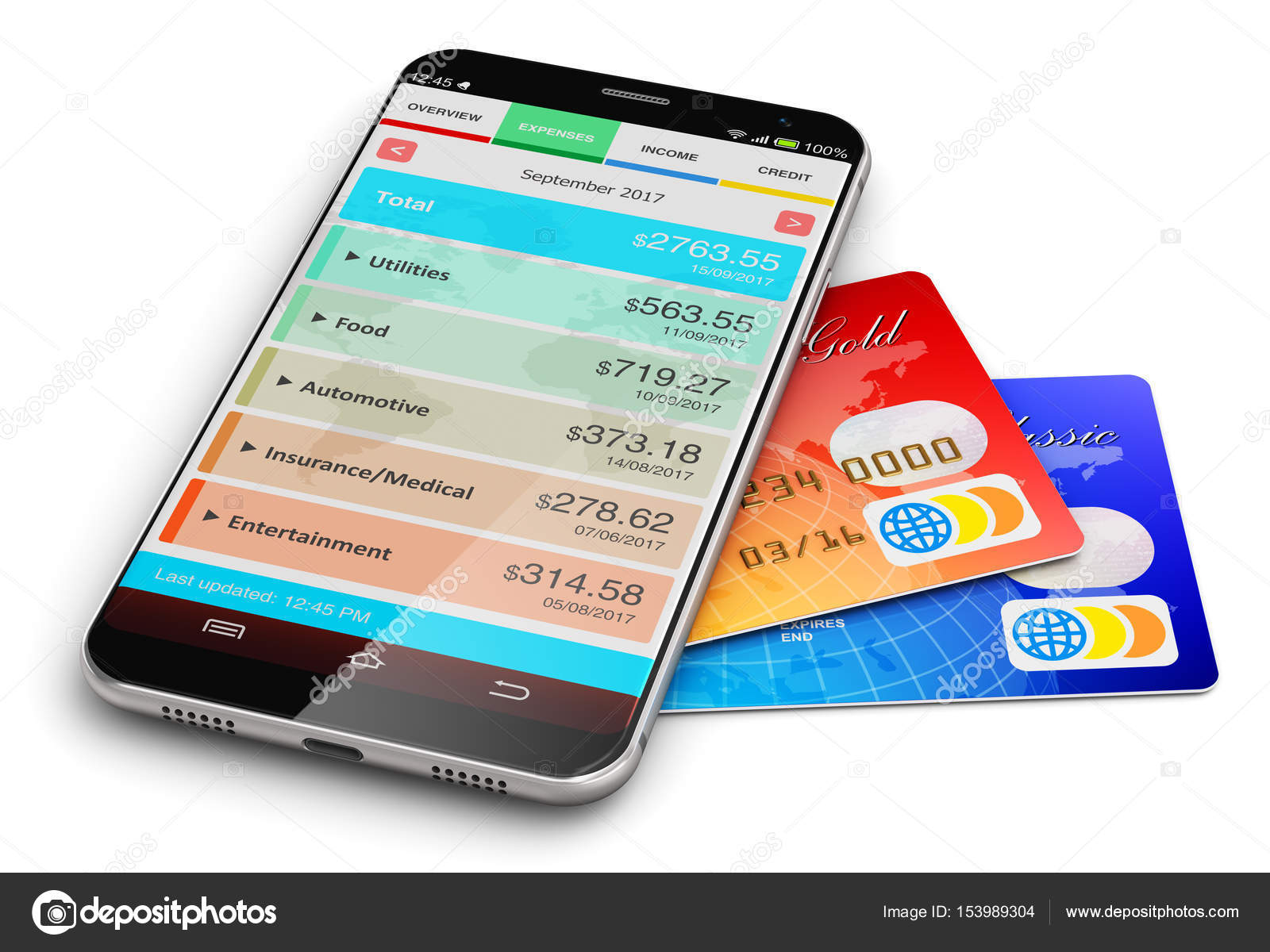 Smartphone With Financial Manager App And Bank Credit Cards Stock