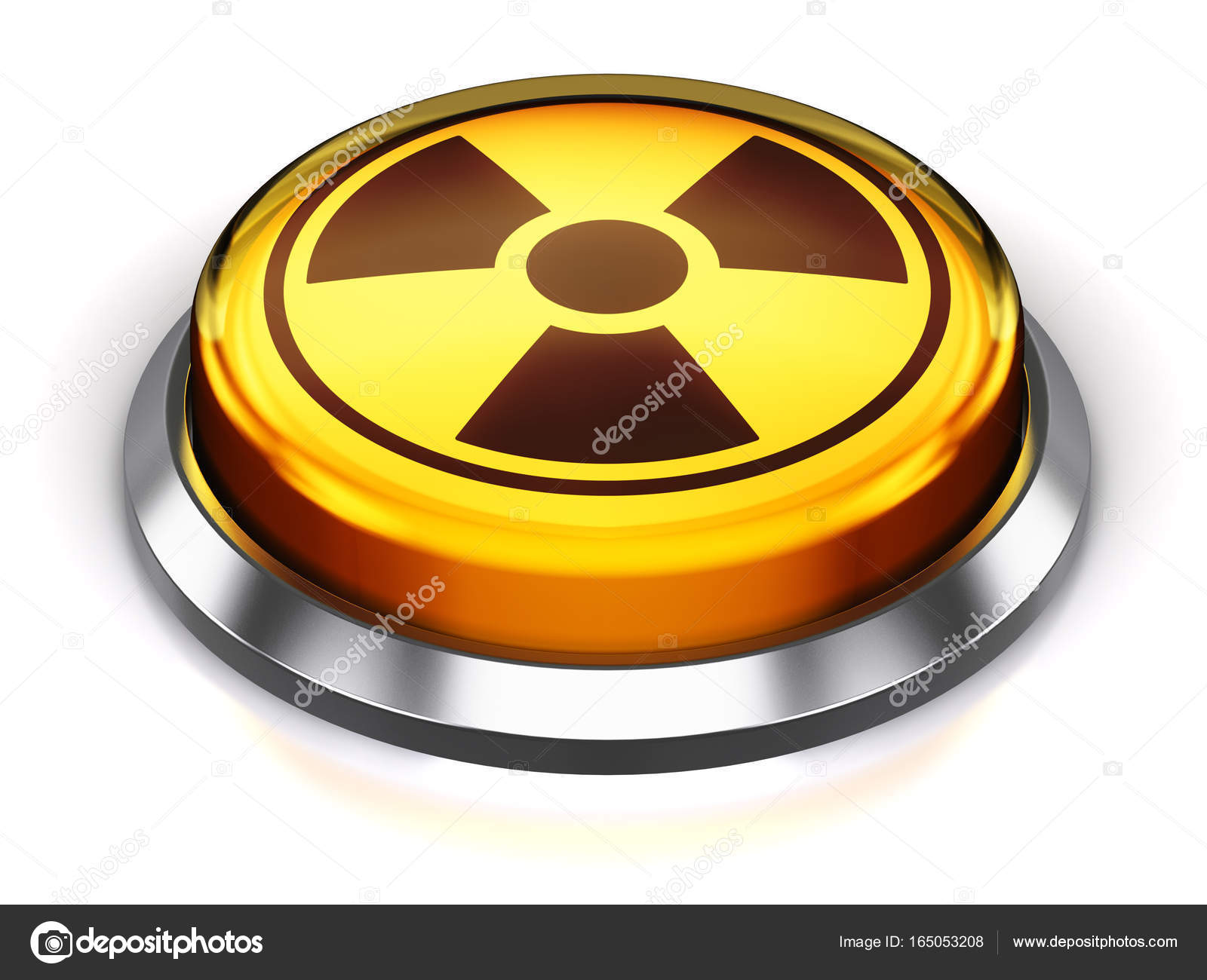 Yellow round nuke button with nuclear radiation symbol stock creative abstract nuclear or atomic energy and military bomb launch and nuke war concept 3d render illustration of the yellow round button with poison biocorpaavc Gallery