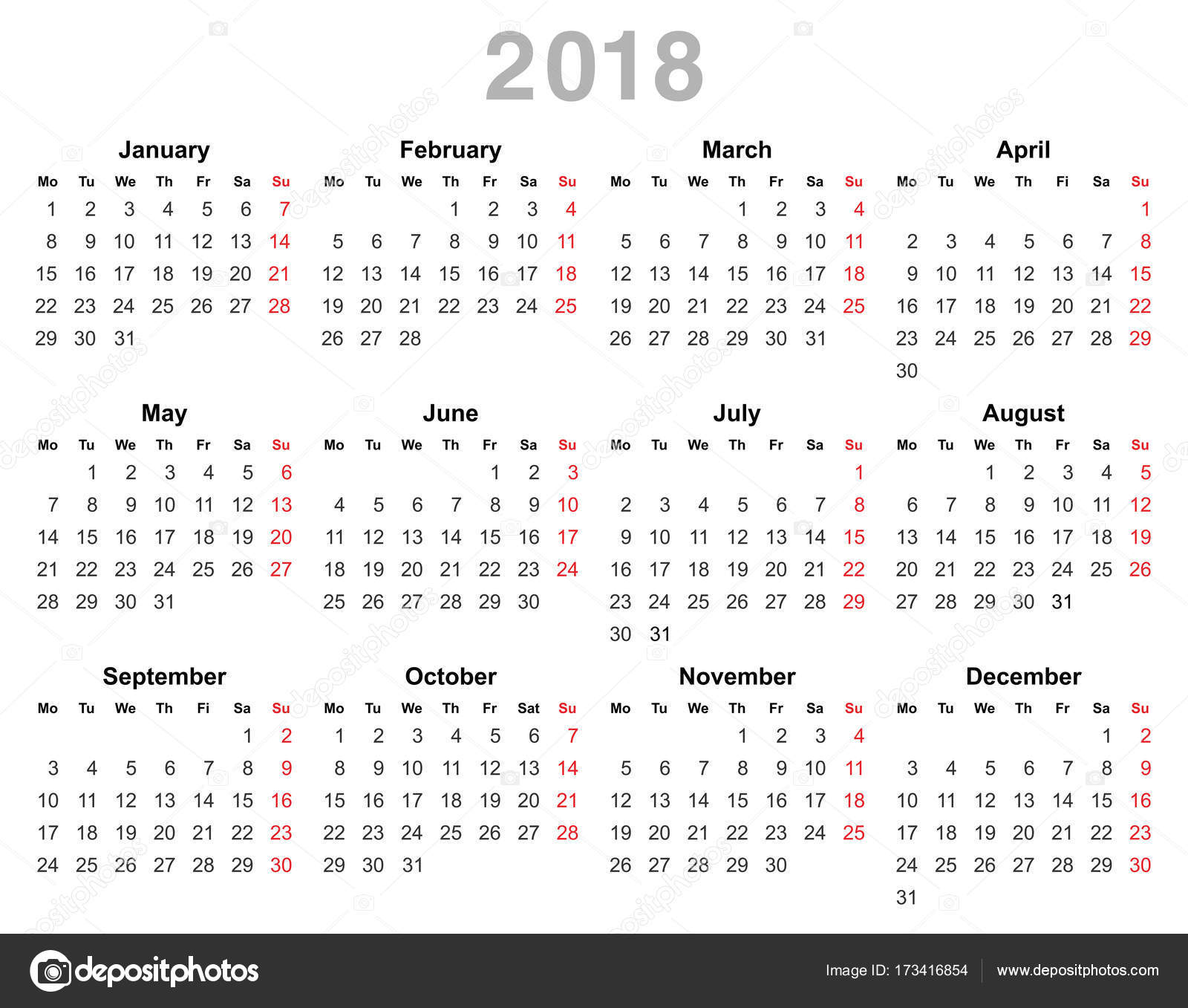 color vector illustration of 2018 year annual calendar monday first english isolated on white background vector by scanrail