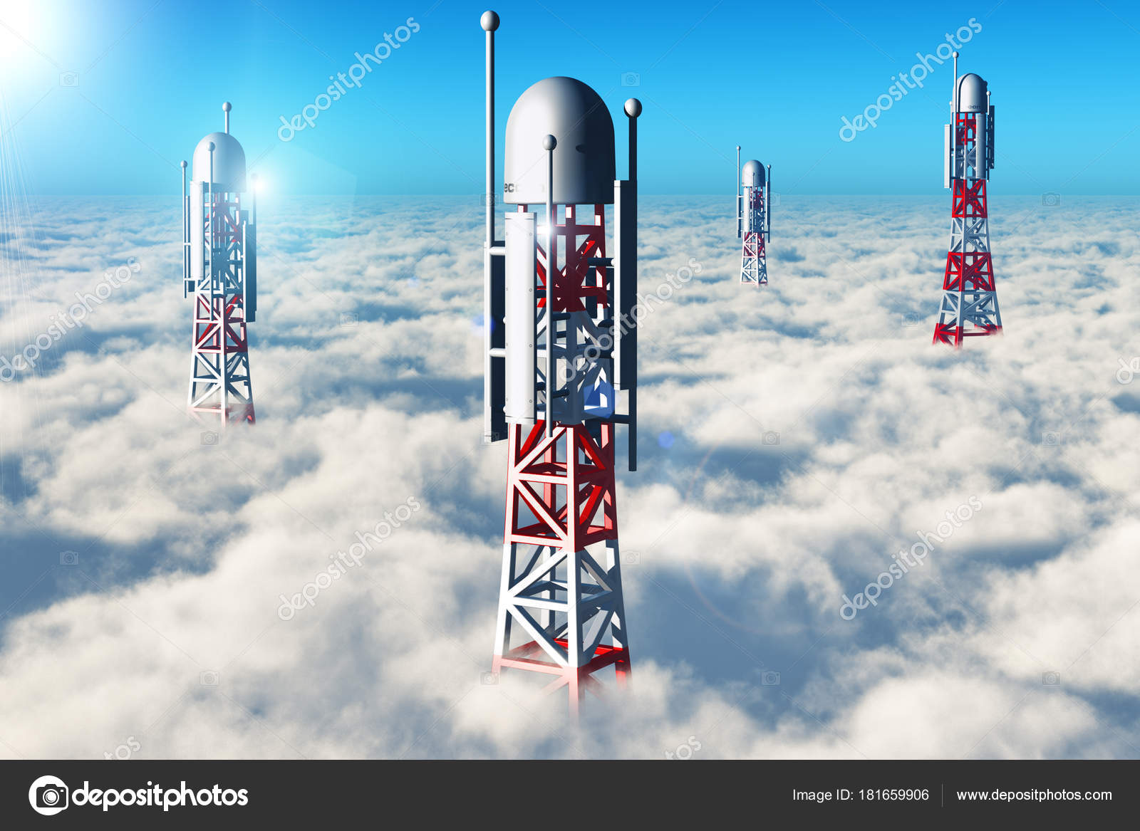 Wireless telecommunication towers in the sky above the clouds ...