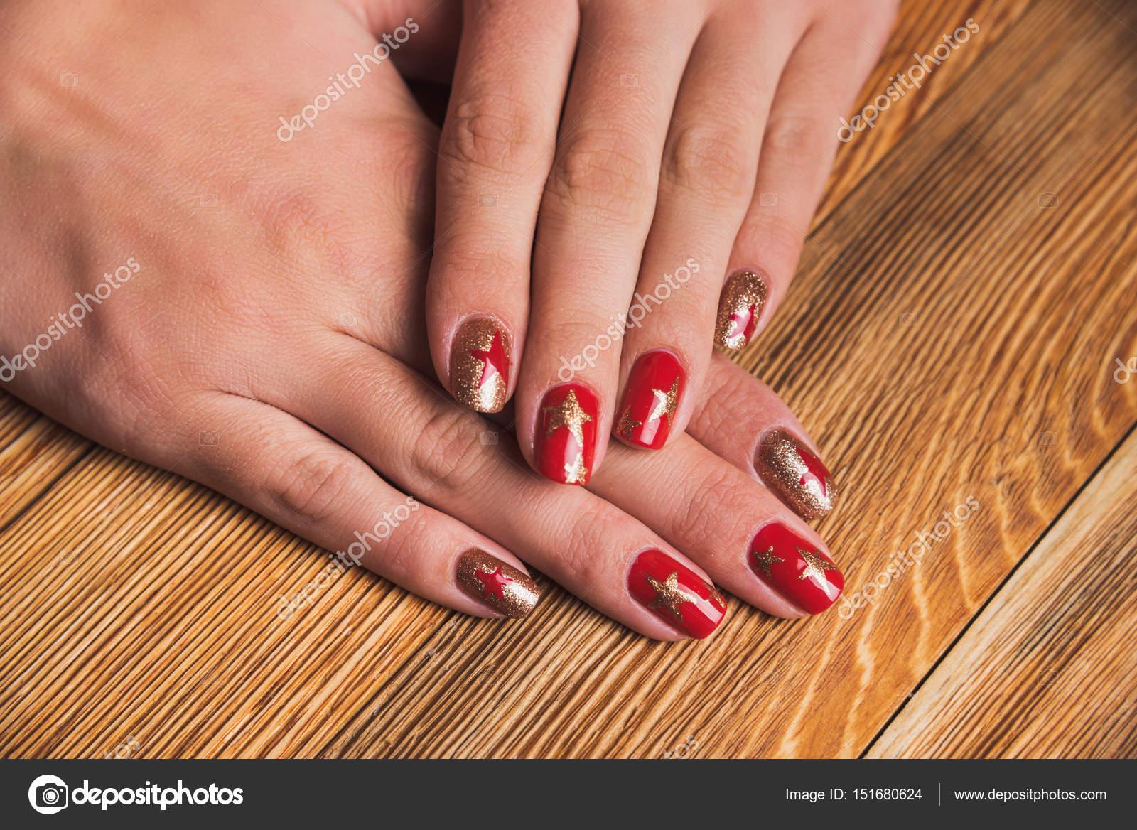 Festive Nail Art Stars Red Gold Colors Stock Photo Selora 151680624