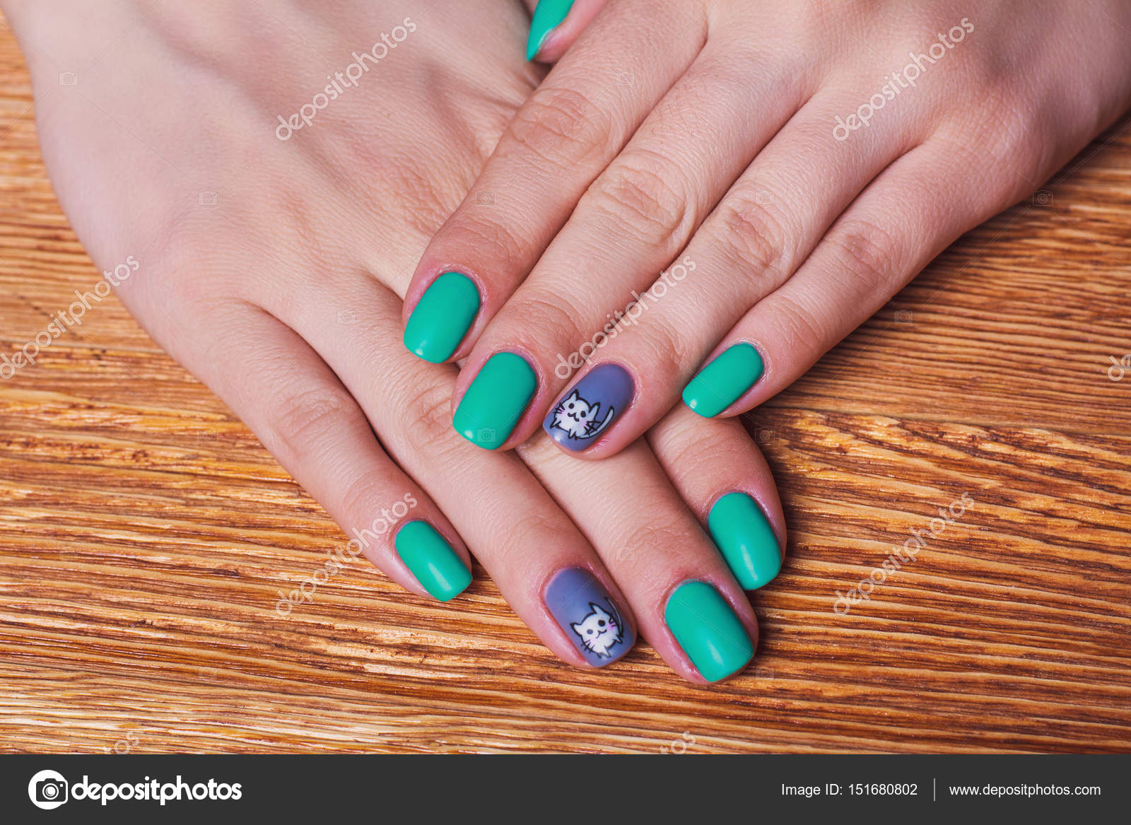 Teal and white nail designs