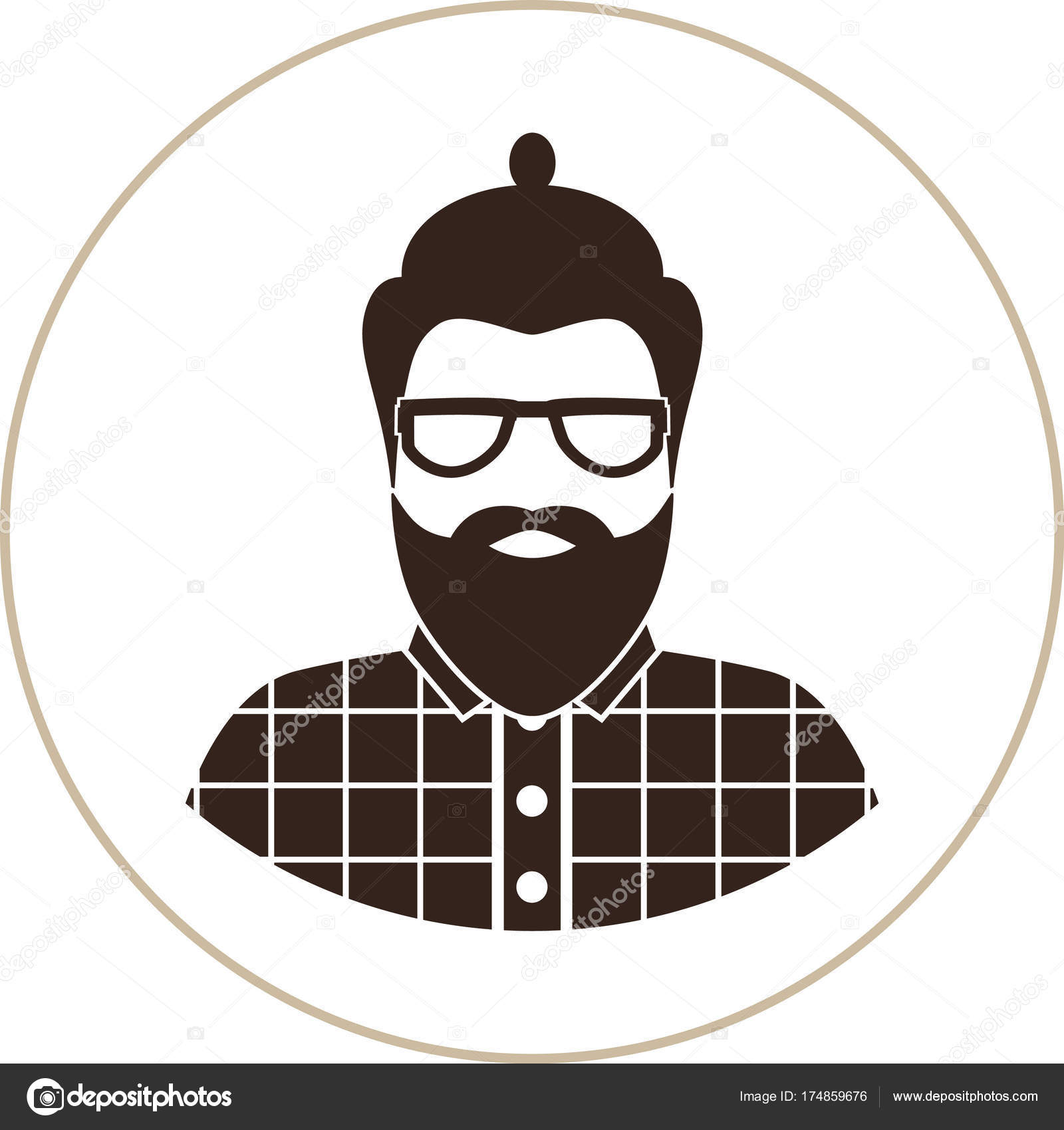Hipster Mann Silhouette Flache Symbol Ein Mann Mit Brille ...