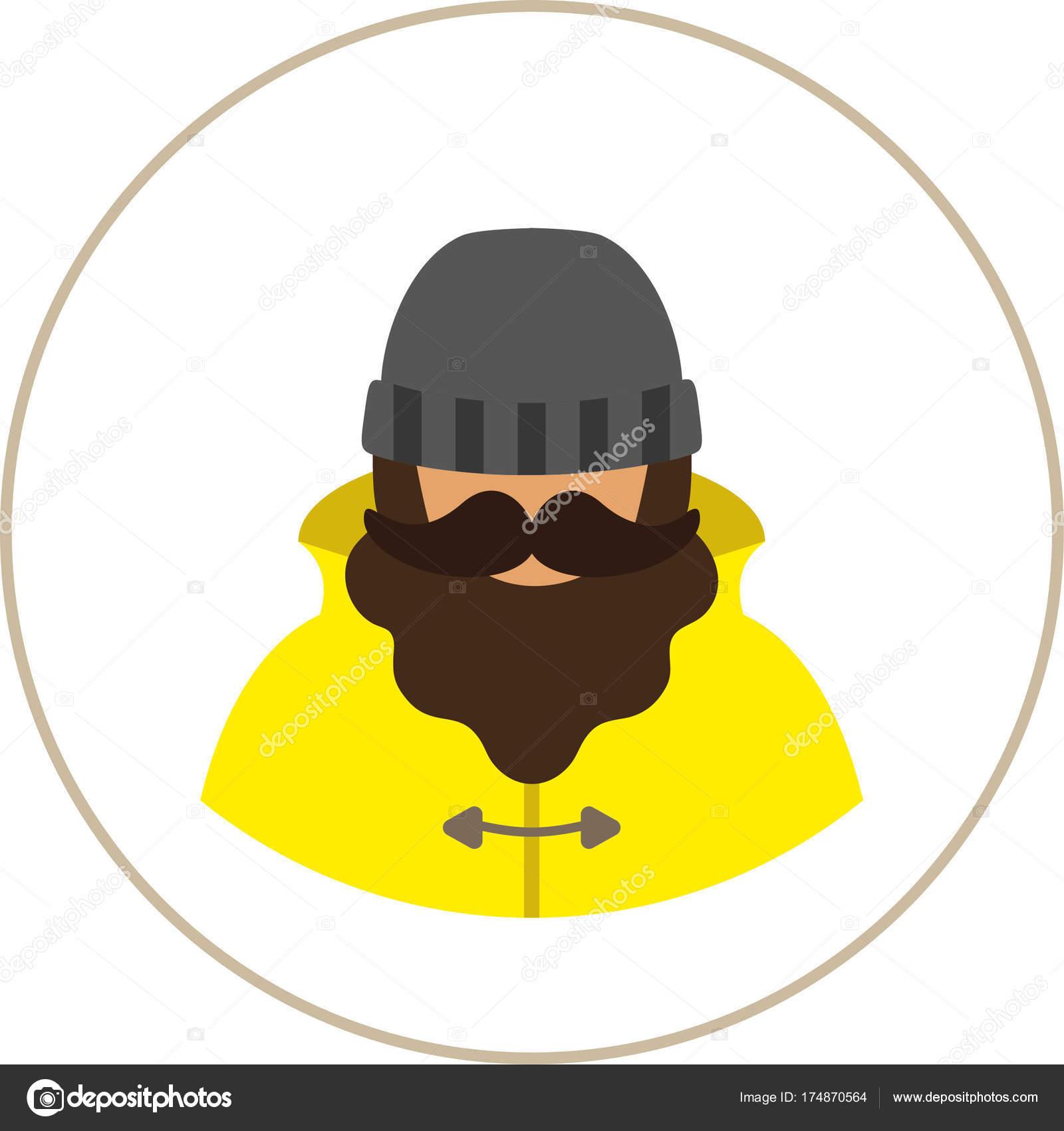 Fischer Seemann Mann Flach Symbol Ein Mann Mit Einem Schnurrbart ...