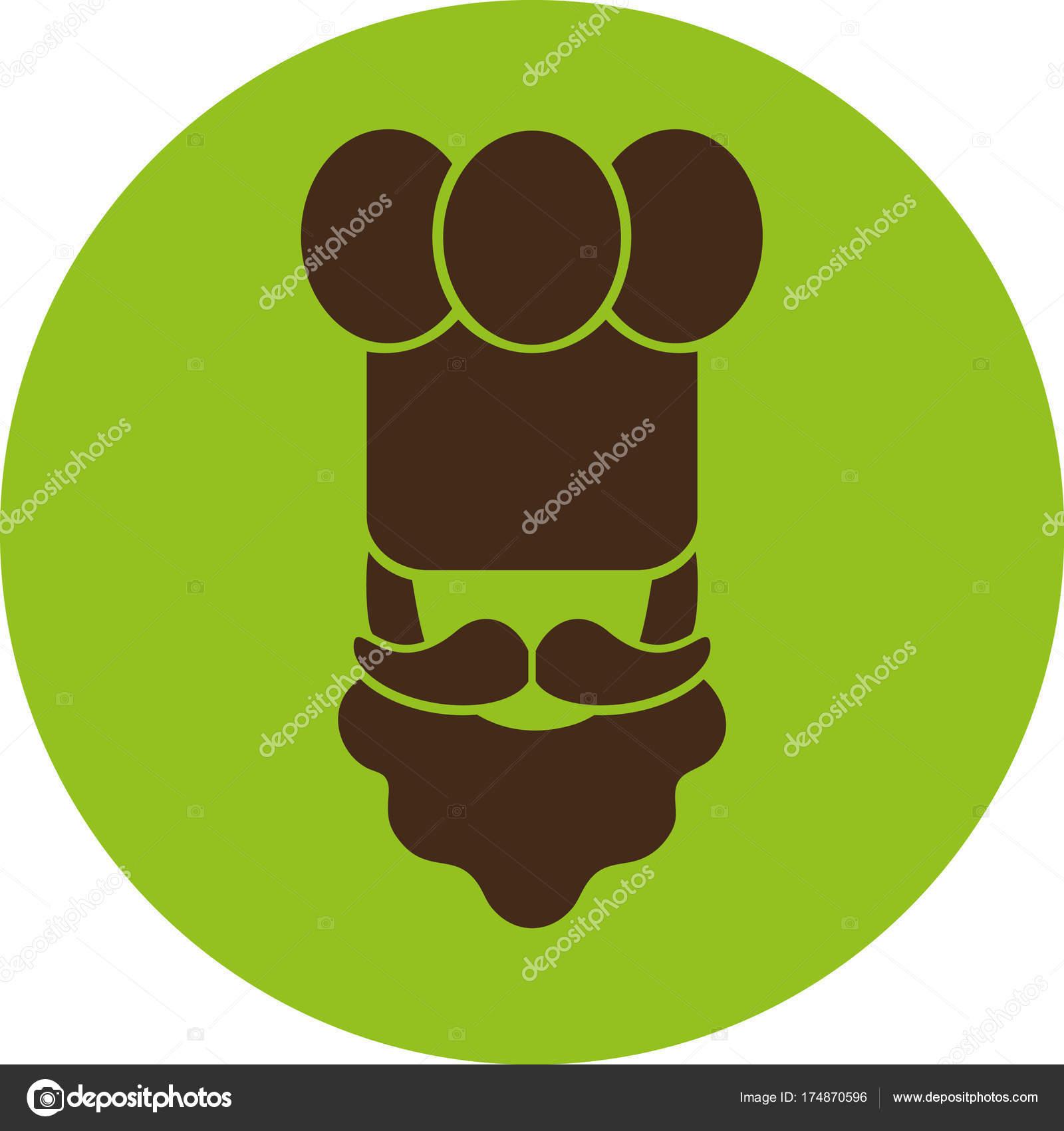 Koch Flache Symbol Ein Mann Mit Einem Schnurrbart Und Bart ...