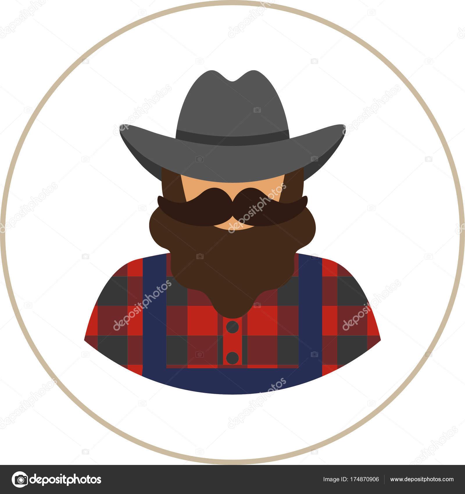 Farmer Worker Flat Icon Man Mustache Beard Wearing Plaid Shirt ...