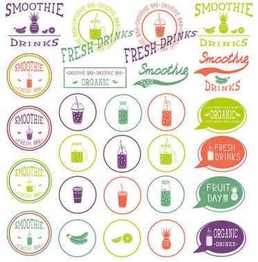 set of icons, logo, elements, symbols, emblems and labels  - smoothie, coffee to go, frappe, juice, fruits cocktail, lemonade,  mason jar, other fresh drinks, bottle. Multicolor and white.