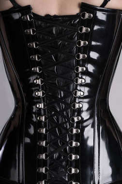 woman in black glossy corset