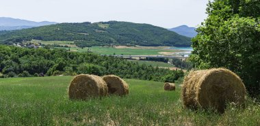 hill with straw bales in valley