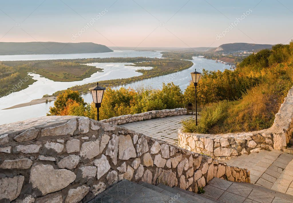 View of valley of Volga river on sunset