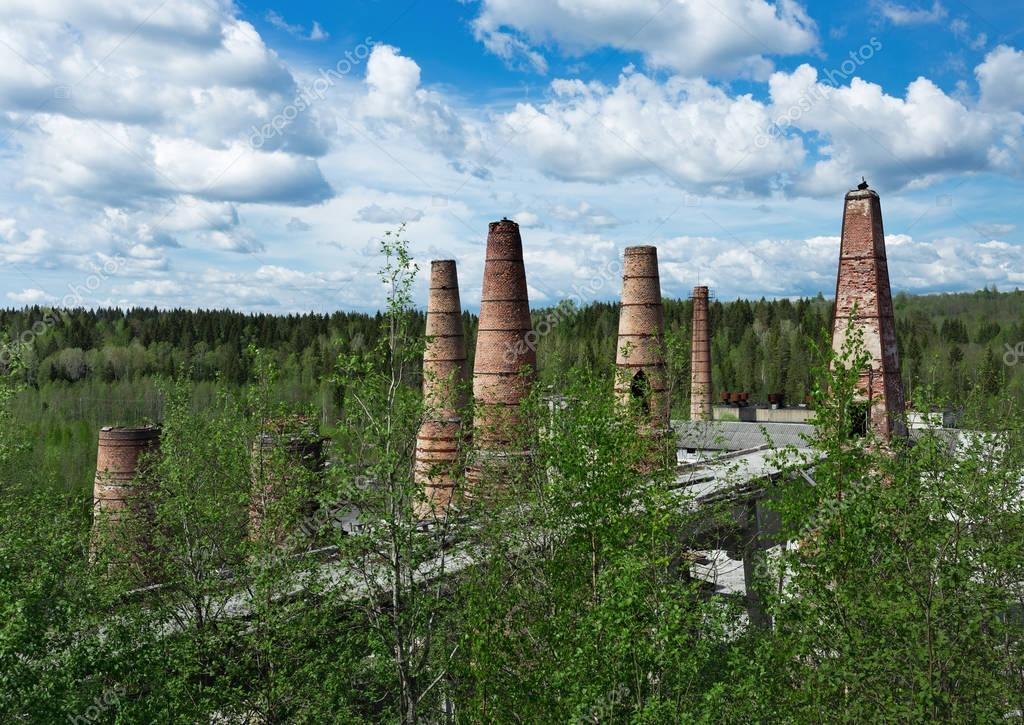 Old brick pipes of factory in Ruskeala