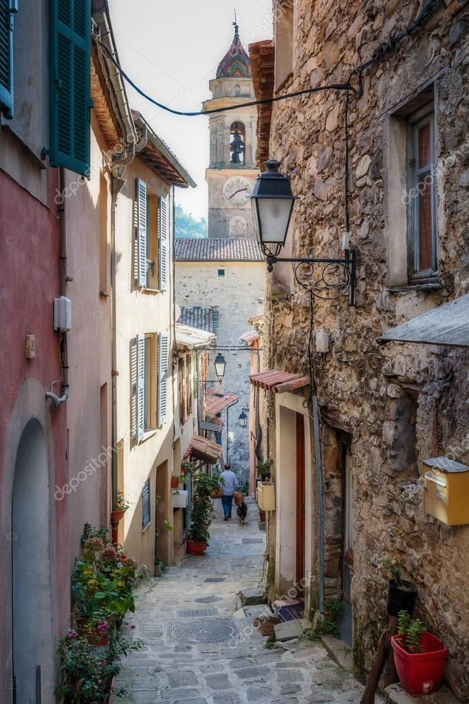 Narrow street in the old town in France