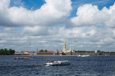 River Neva and Peter and Paul Fortress in St.Petersburg at sunny