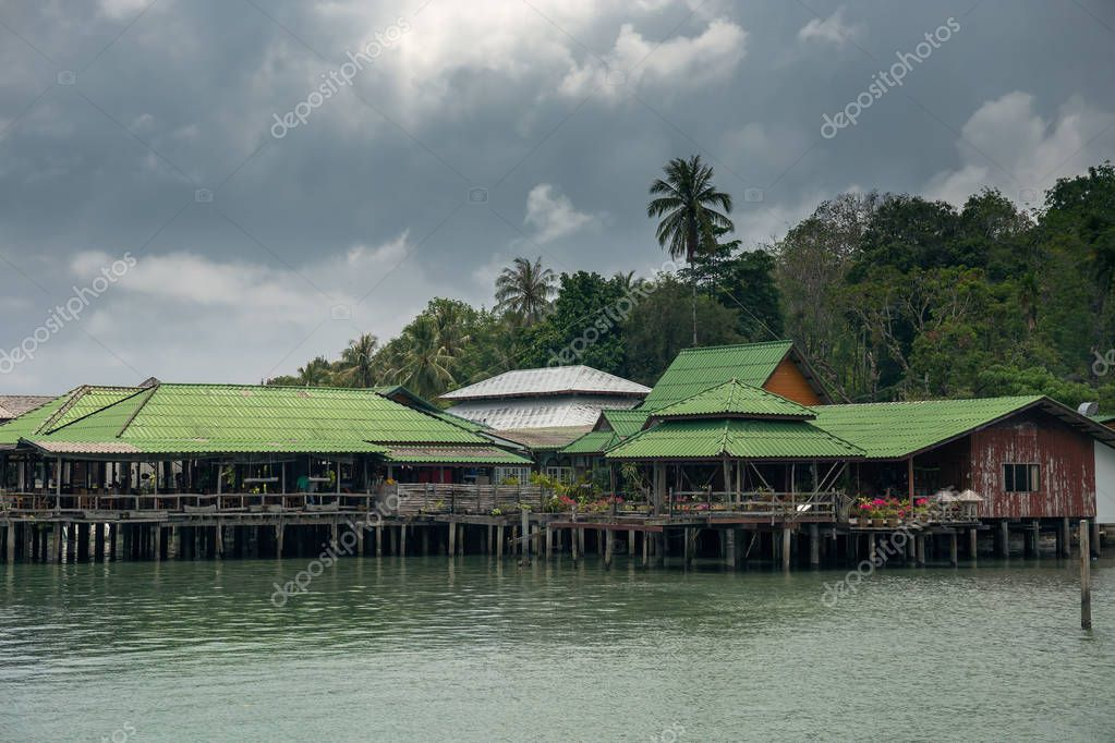 Houses on stilts in the fishing village, Thailand
