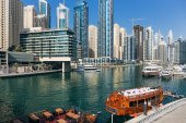 DUBAI, UAE - NOVEMBER 29, 2017: view of the canal from the bridge in the Dubai Marina area