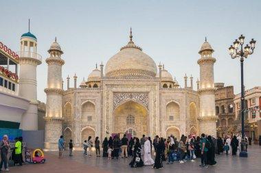 DUBAI, UAE - DECEMBER 4, 2017: Pavilion Taj Mahal in park entertainment center Global Village