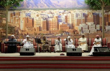 DUBAI, UAE - DECEMBER 4, 2017: Musical concert in pavilion of Jordan in Global Village