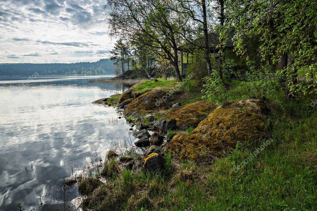 Picturesque landscape on shore of lake in Karelia