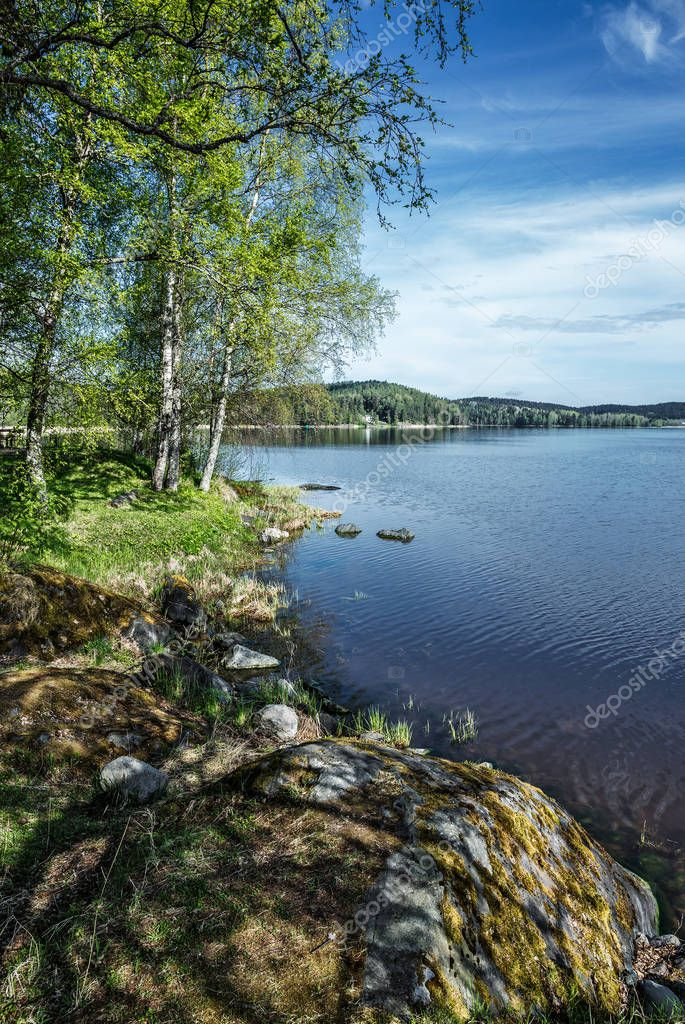 Picturesque landscape on shore of lake in Karelia, Russia