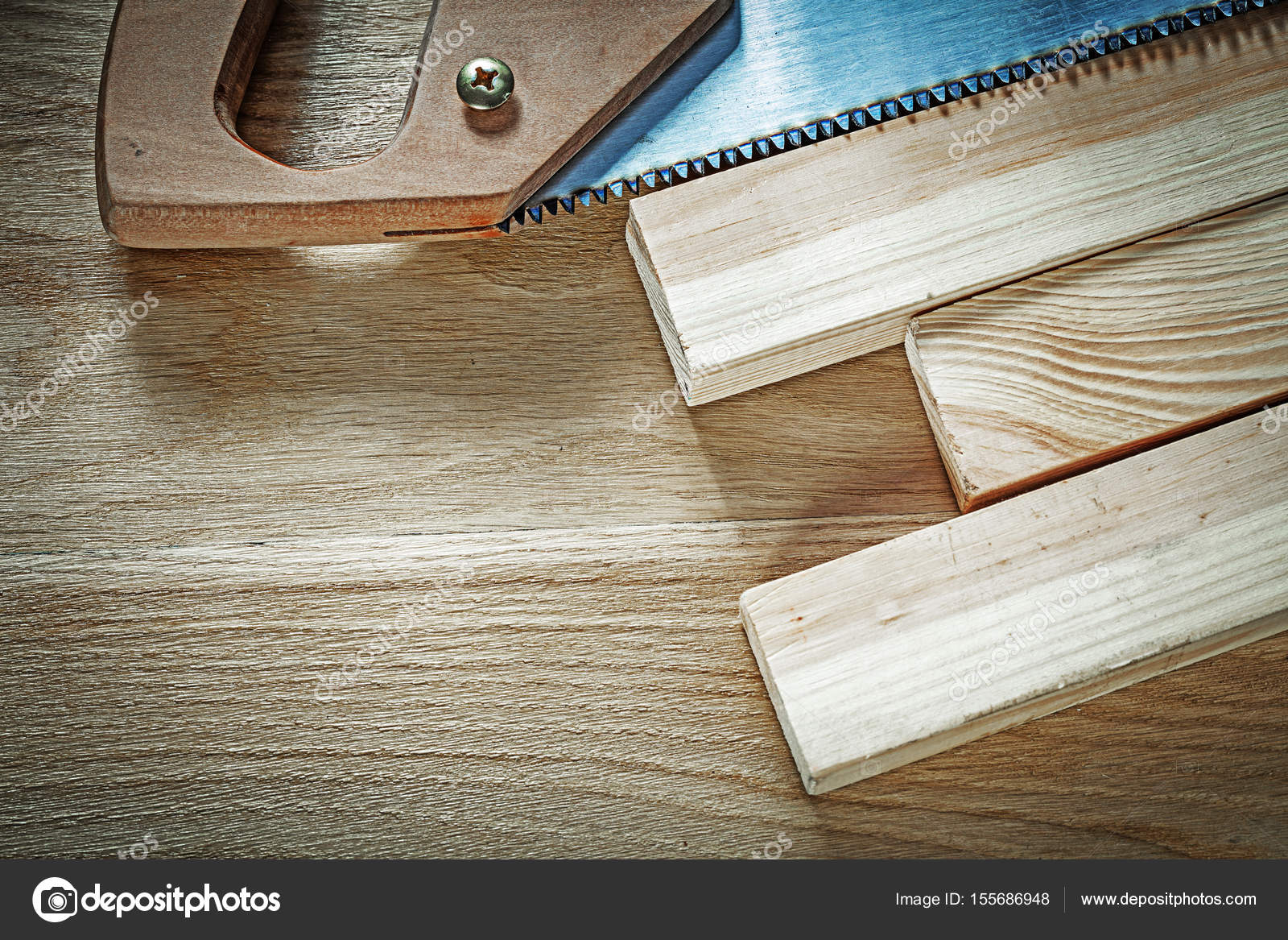 Handsaw Wooden Stud On Wood Board Construction Concept Stock Photo