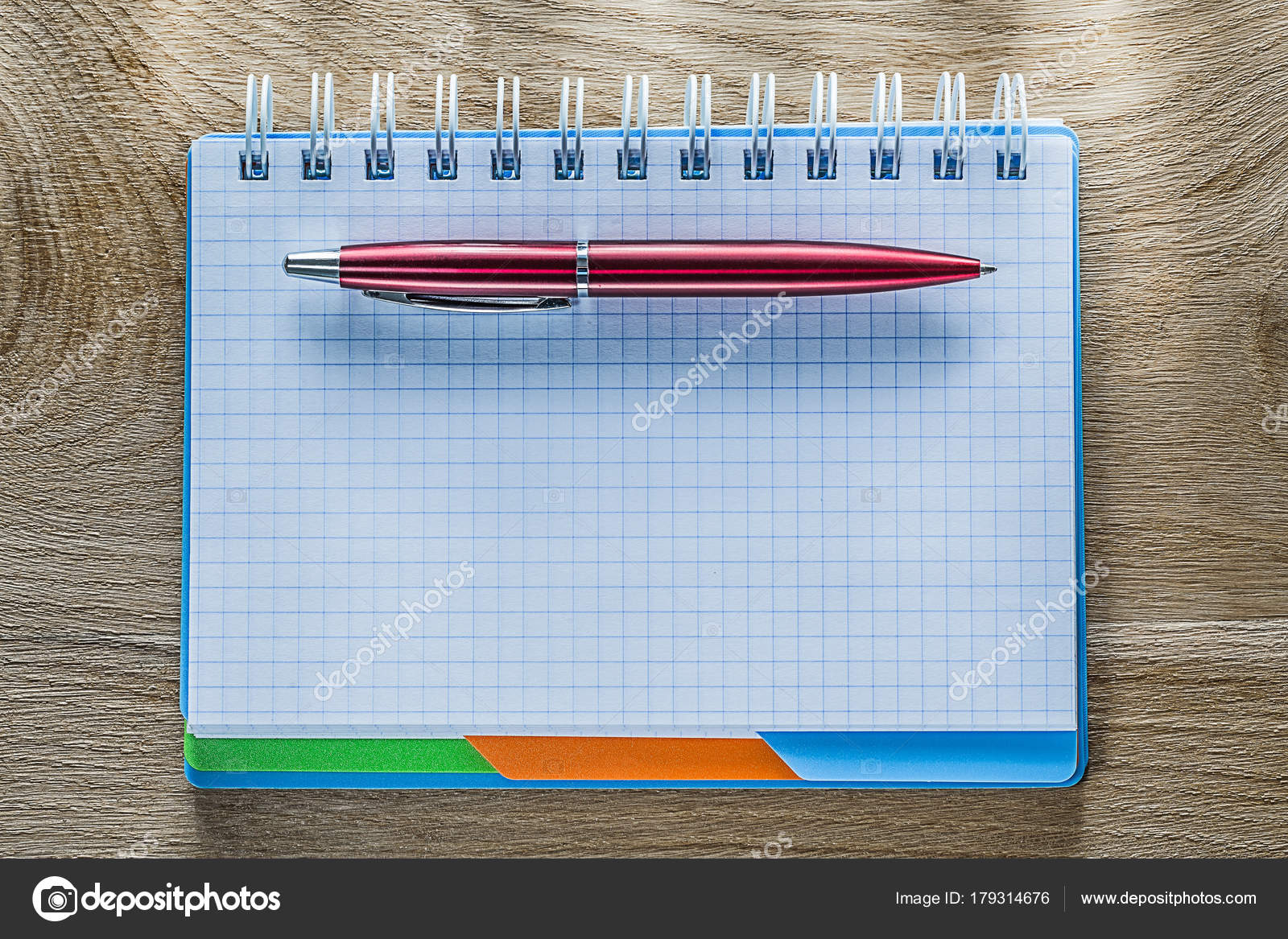 Checked Spiral Copybook Pen On Wood Board Stock Photo Mihalec Ballpoint Diagram And Notepad Royalty Free Photos