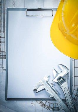 Clipboard building helmet adjustable spanner vernier caliper on