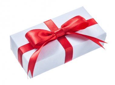 White wrapped gift box with red bow isolated on white