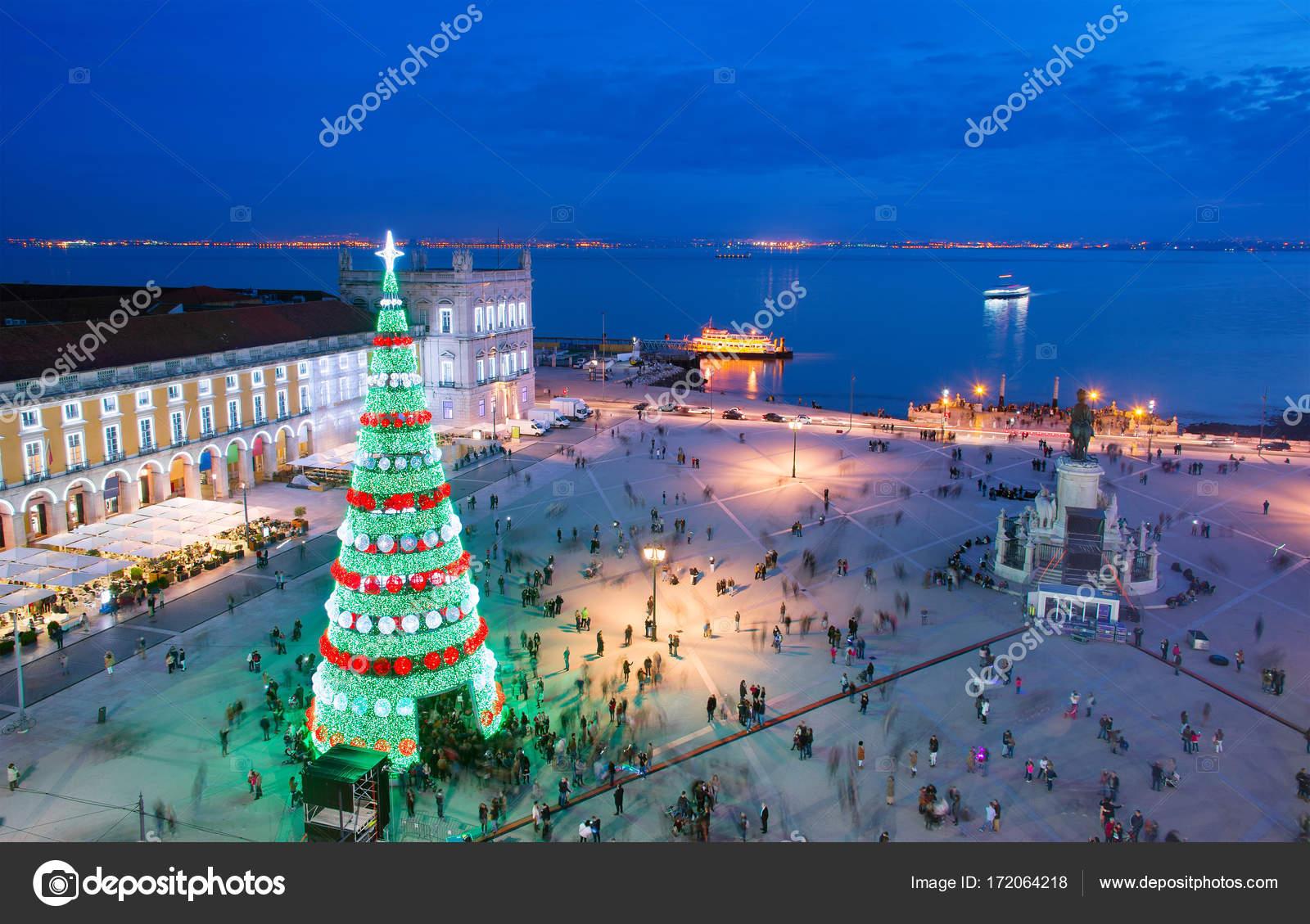 Christmas In Portugal.Lisbon Christmas Celebration Portugal Stock Photo