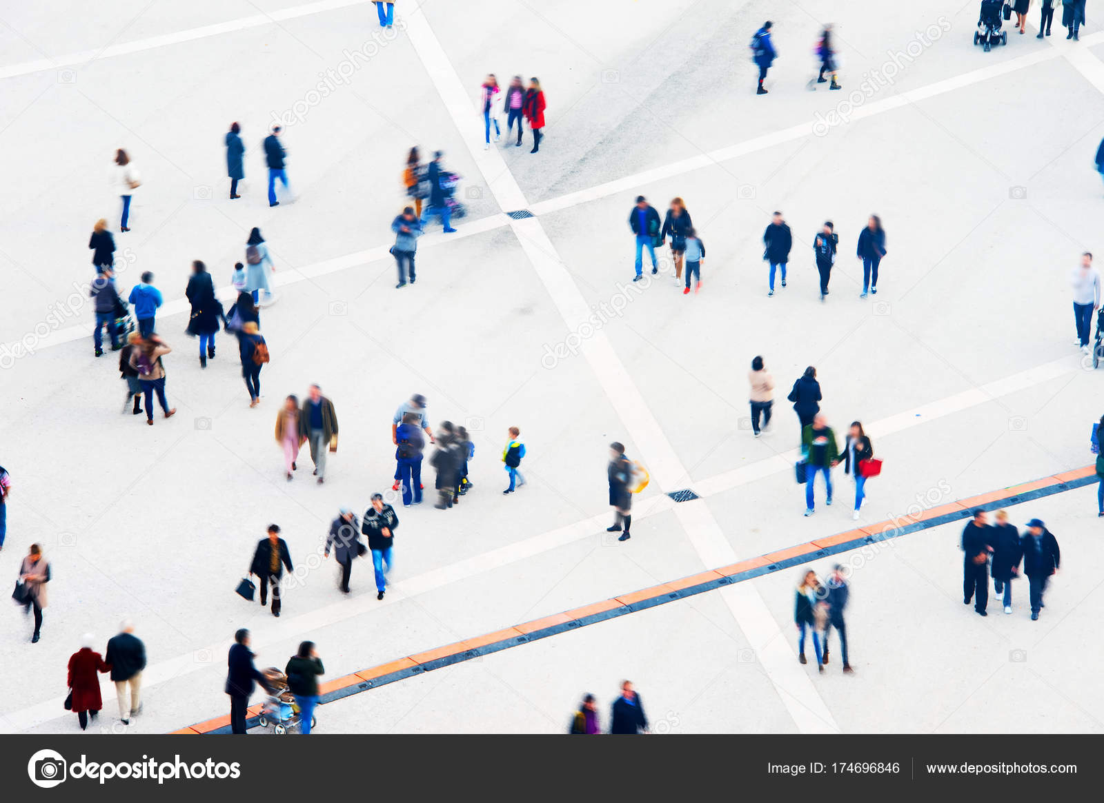 Crowd Of People At A Public Square Long Exposure Motion Blur Aerial View Photo By Joyfull