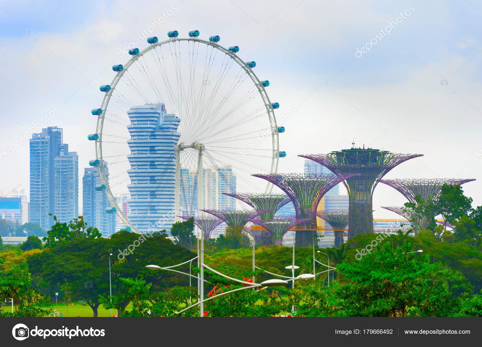 Singapur Febrero 2017 Vista Los Arboles Jardin Bahia Singapore Flyer