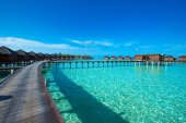 Fotografie water bungalows at Maldives