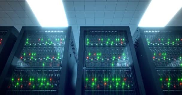Server-Racks. modernes Rechenzentrum. Cloud Computing. 8k 4k uhd