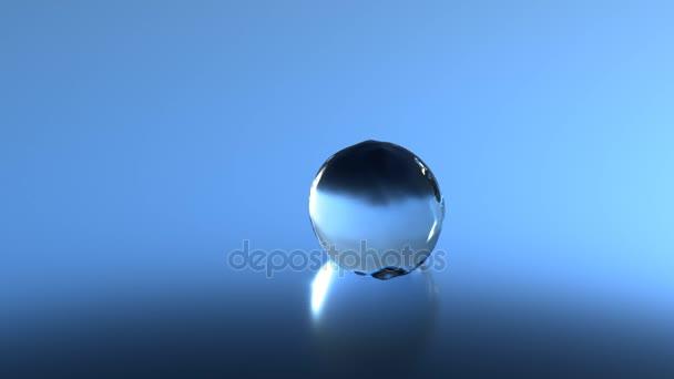 Víz csepp folyadék alá a kék háttér és ugrás a lassú mozgás, Uhd 4k, 8k