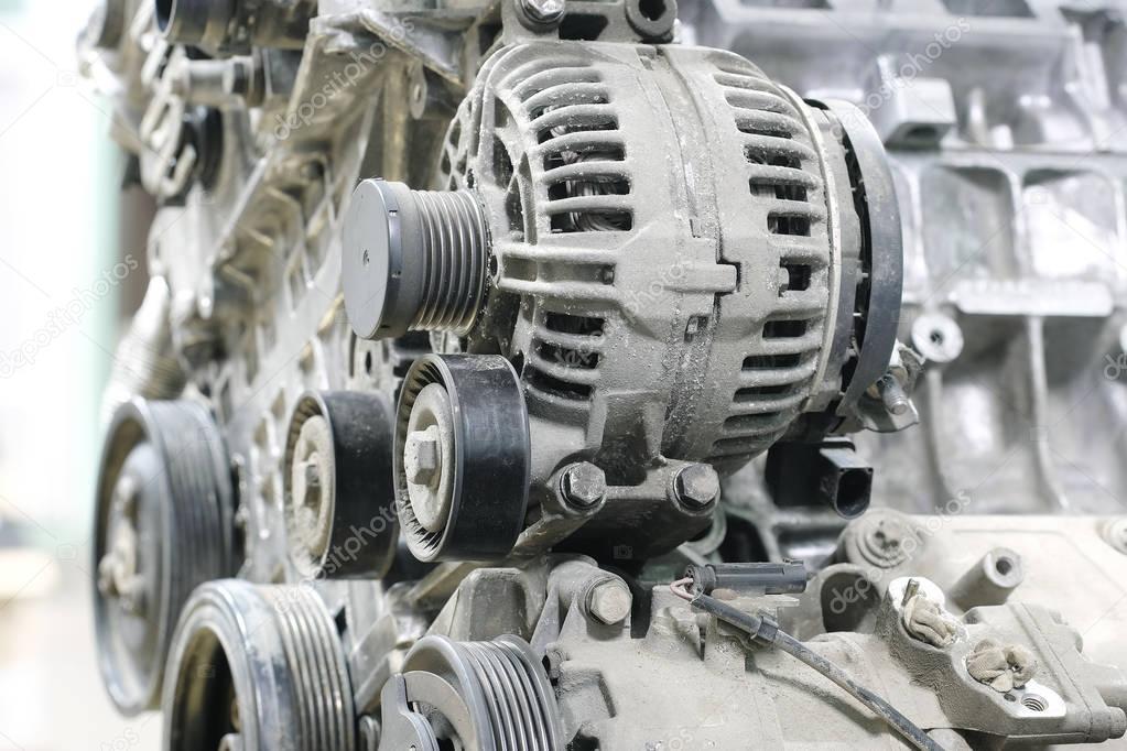 Automotor mit dem Bild eines elektrischen Generators — Stockfoto ...