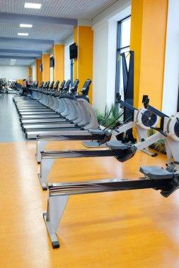 Interior of treadmills in a fitness hall